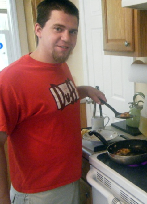 My southern man frying up some plantains for breakfast