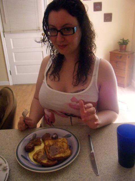 Mmm, breakfast! With a side of white trash bra.